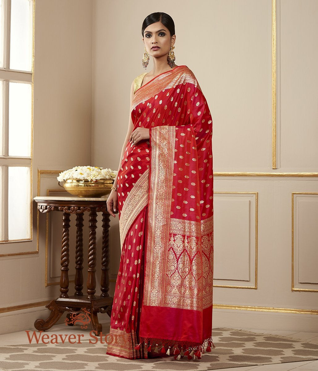Handwoven Red Satin Silk Saree with Heavy Blouse