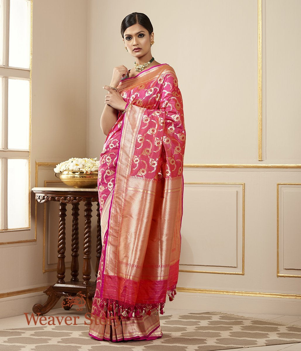 Handwoven Katan Silk Jangla Saree with Meenakari