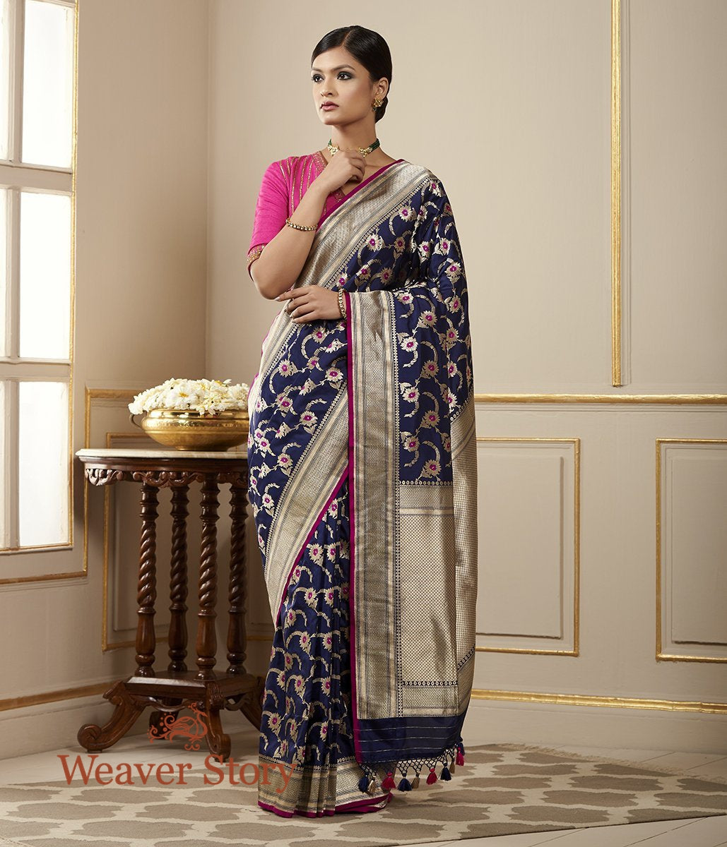 Handwoven Navy Blue Katan Silk Saree with Meenakari
