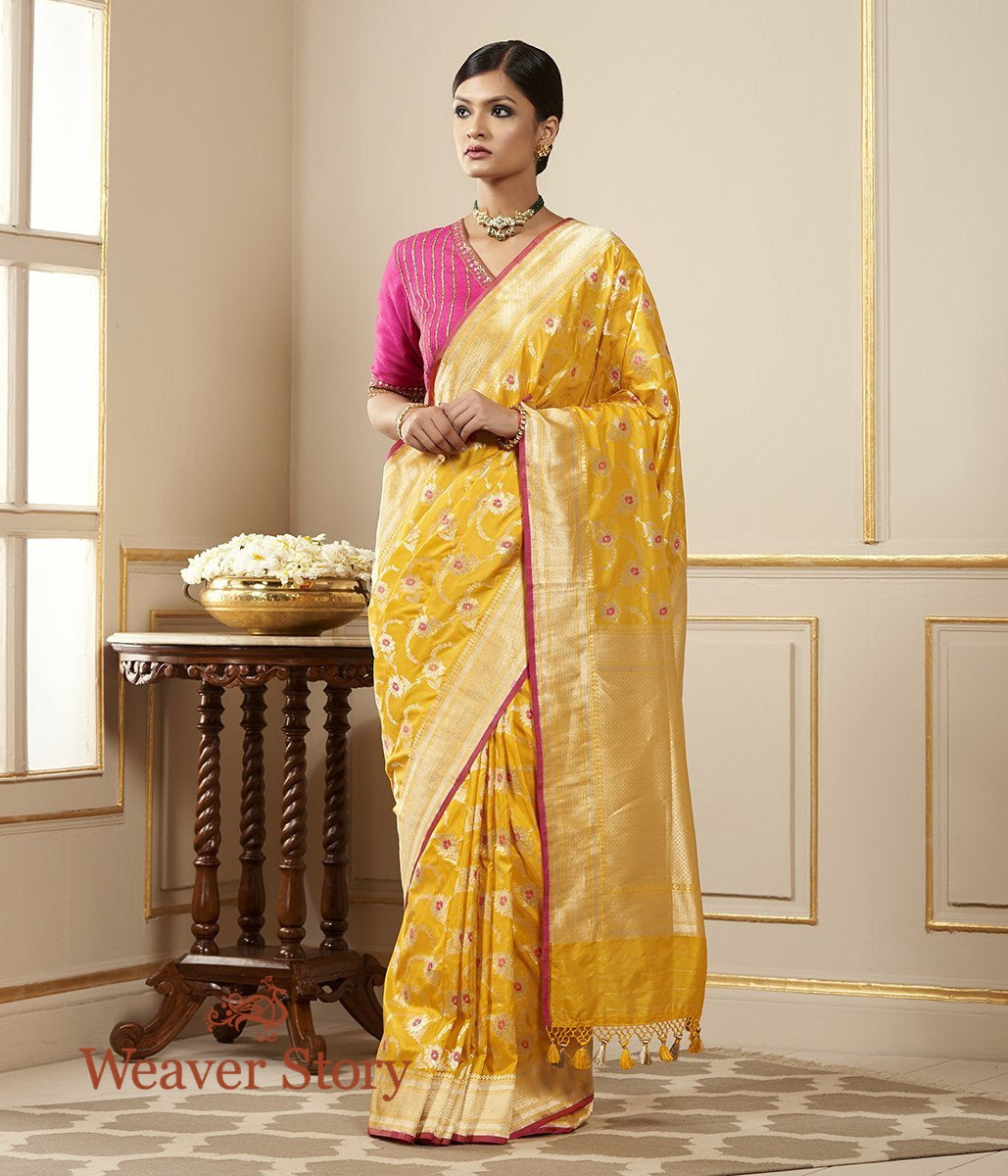 Handwoven Yellow Meenakari Cutwork Jangla Saree