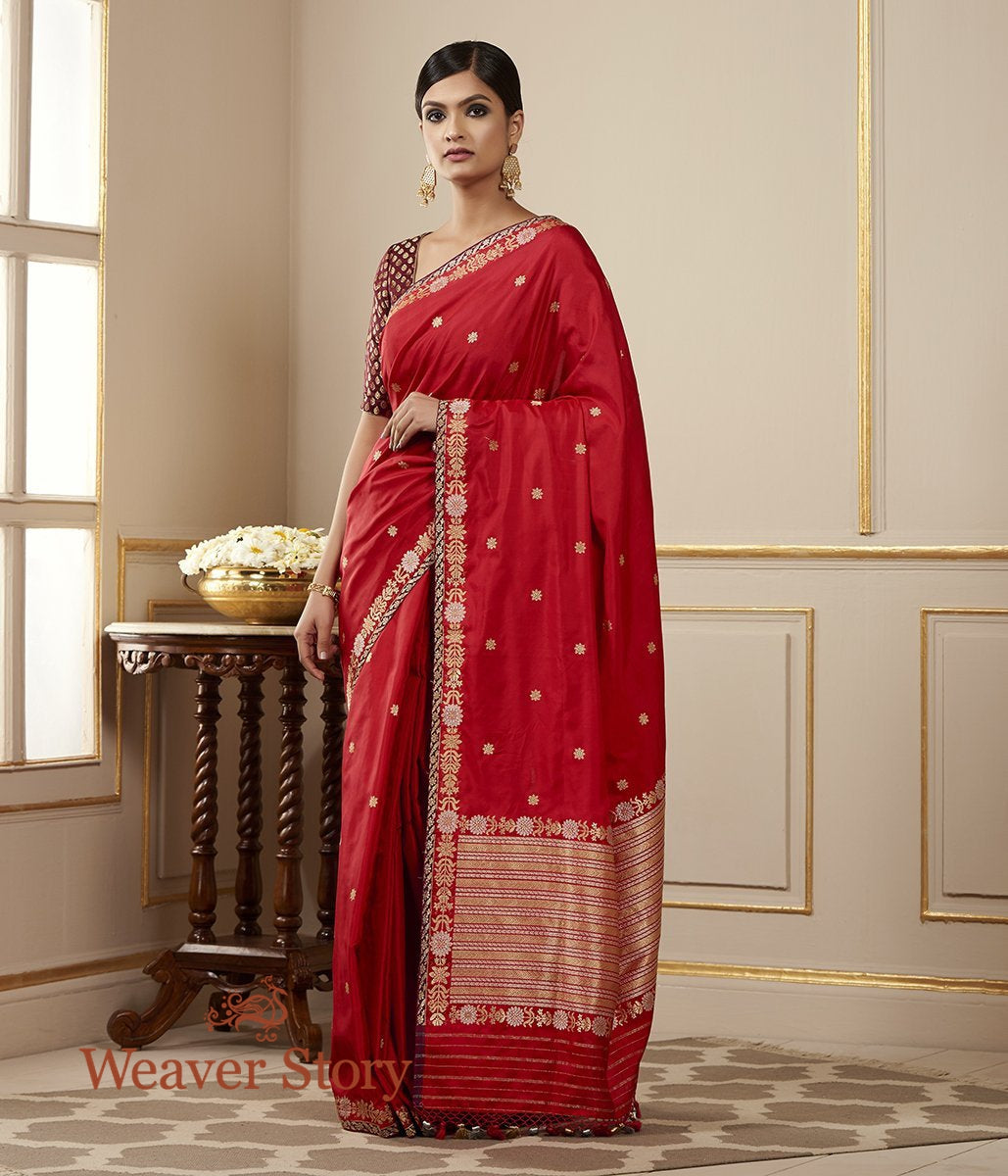 Handwoven Red Banarasi Saree with Kadhwa Booti and Delicate Floral Border