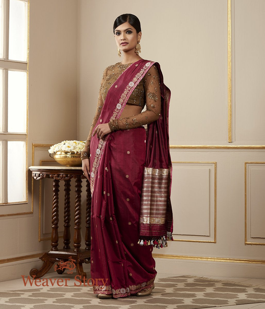 Handwoven Burgundy Banarasi Saree with Kadhwa Booti and Delicate Floral Border