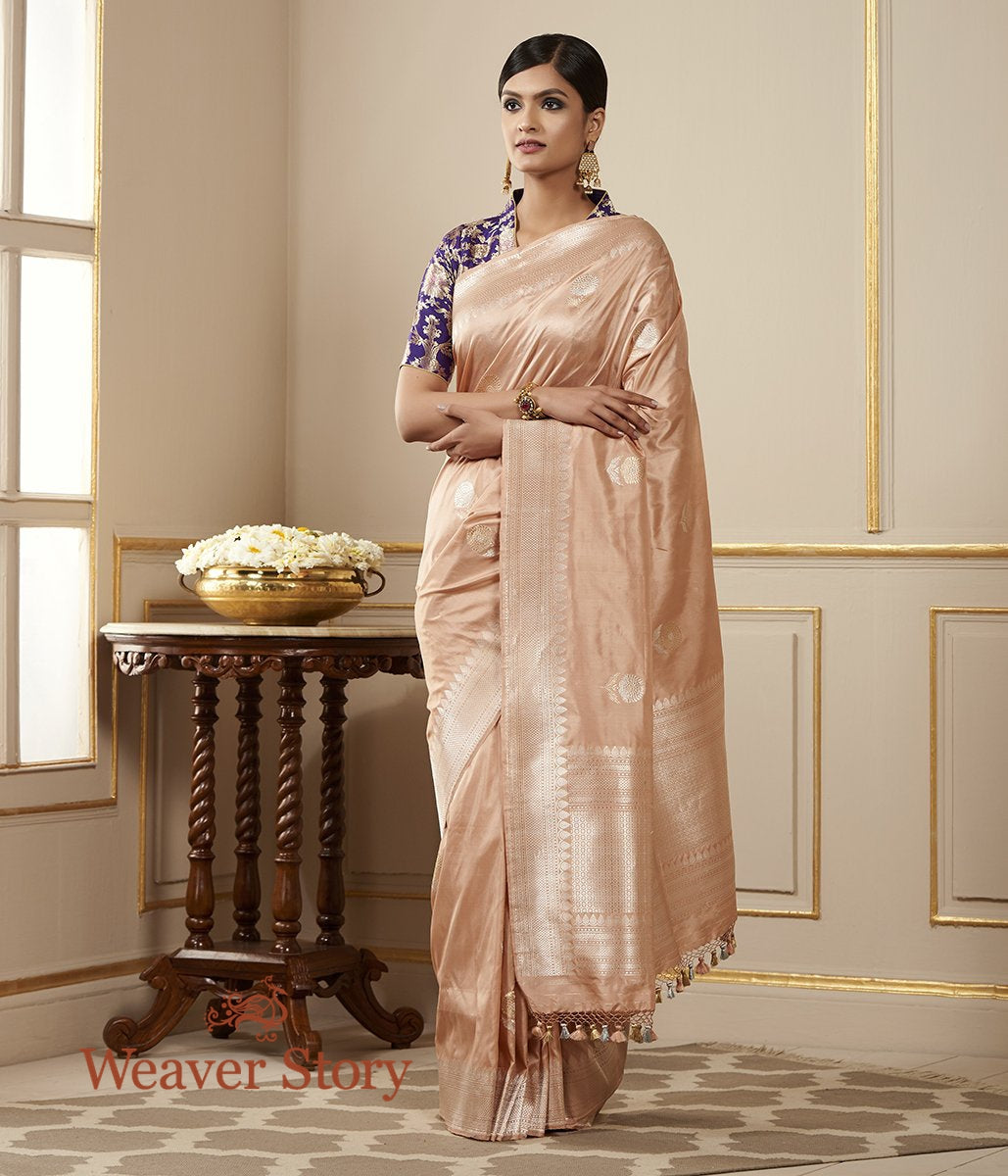Handwoven Light Peach Saree with Gold Silver Flowers