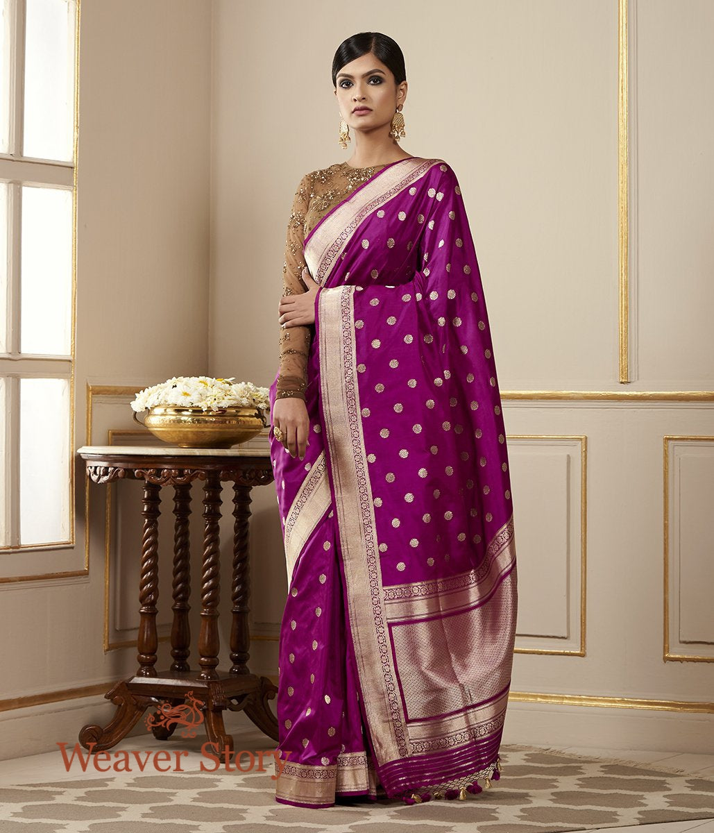 Handwoven Purple Katan Silk Saree with Asharfi Booti