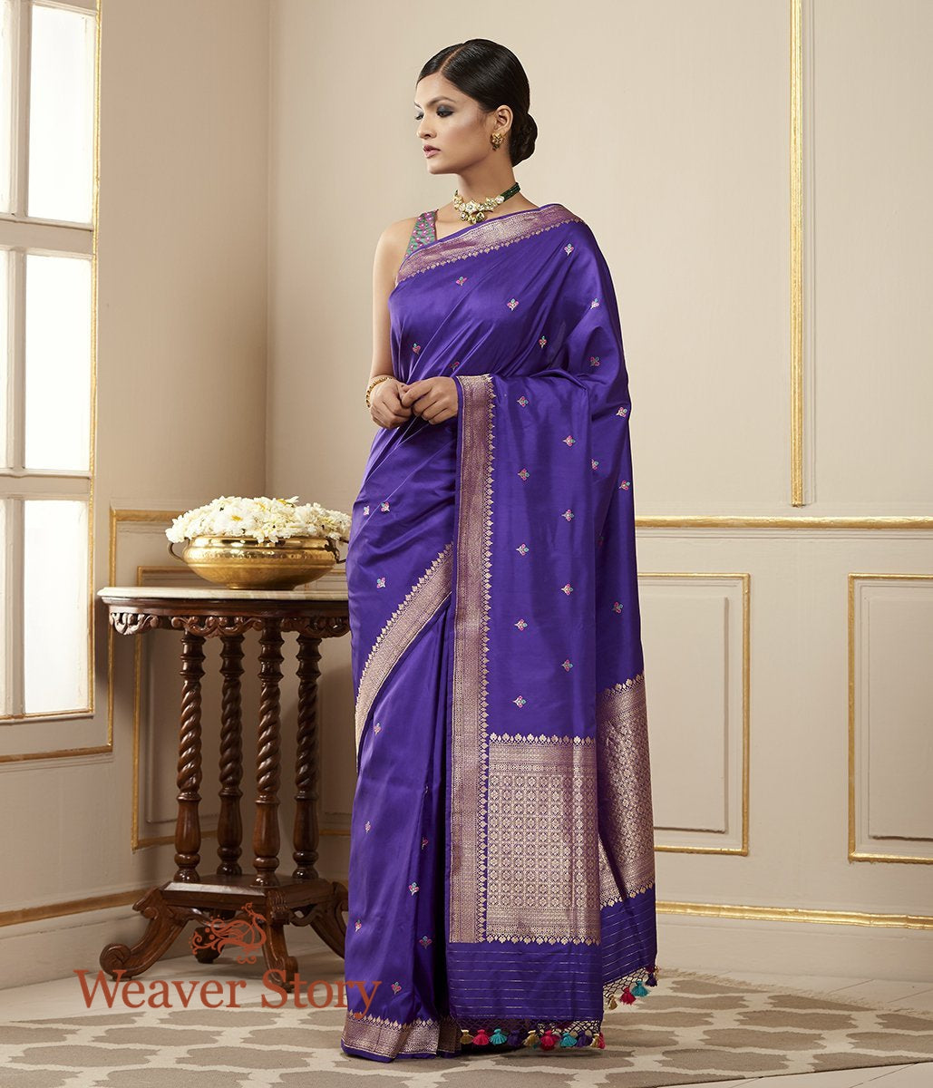 Handwoven Purple Katan Silk Banarasi Saree with Meenakari Booti