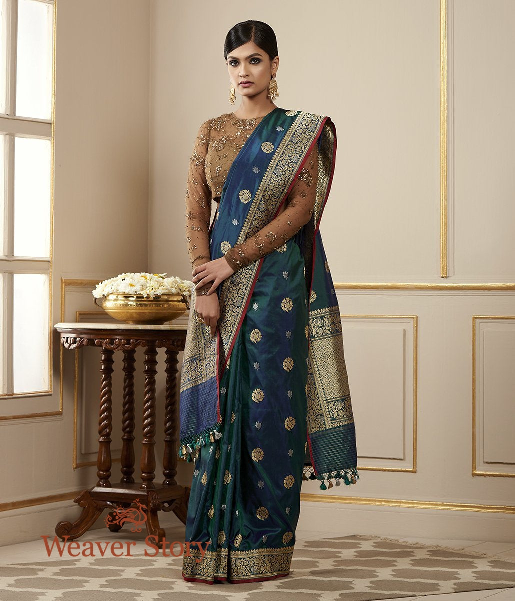 Handwoven Blue and Green Dual Tone Kadhwa Booti Saree