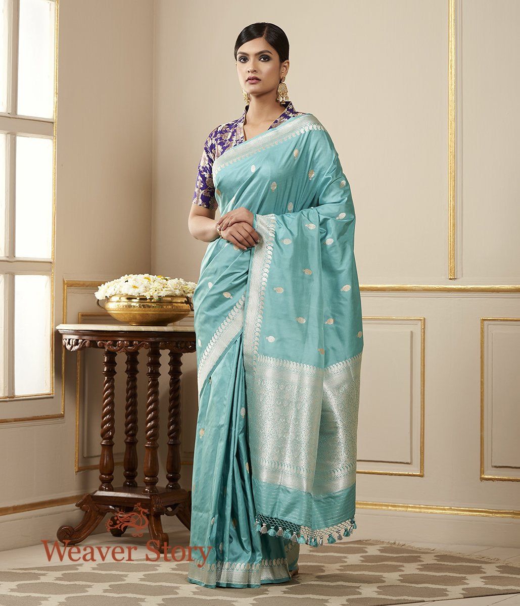 Handwoven Light Blue Banarasi Silk Saree with Kadhwa Motifs