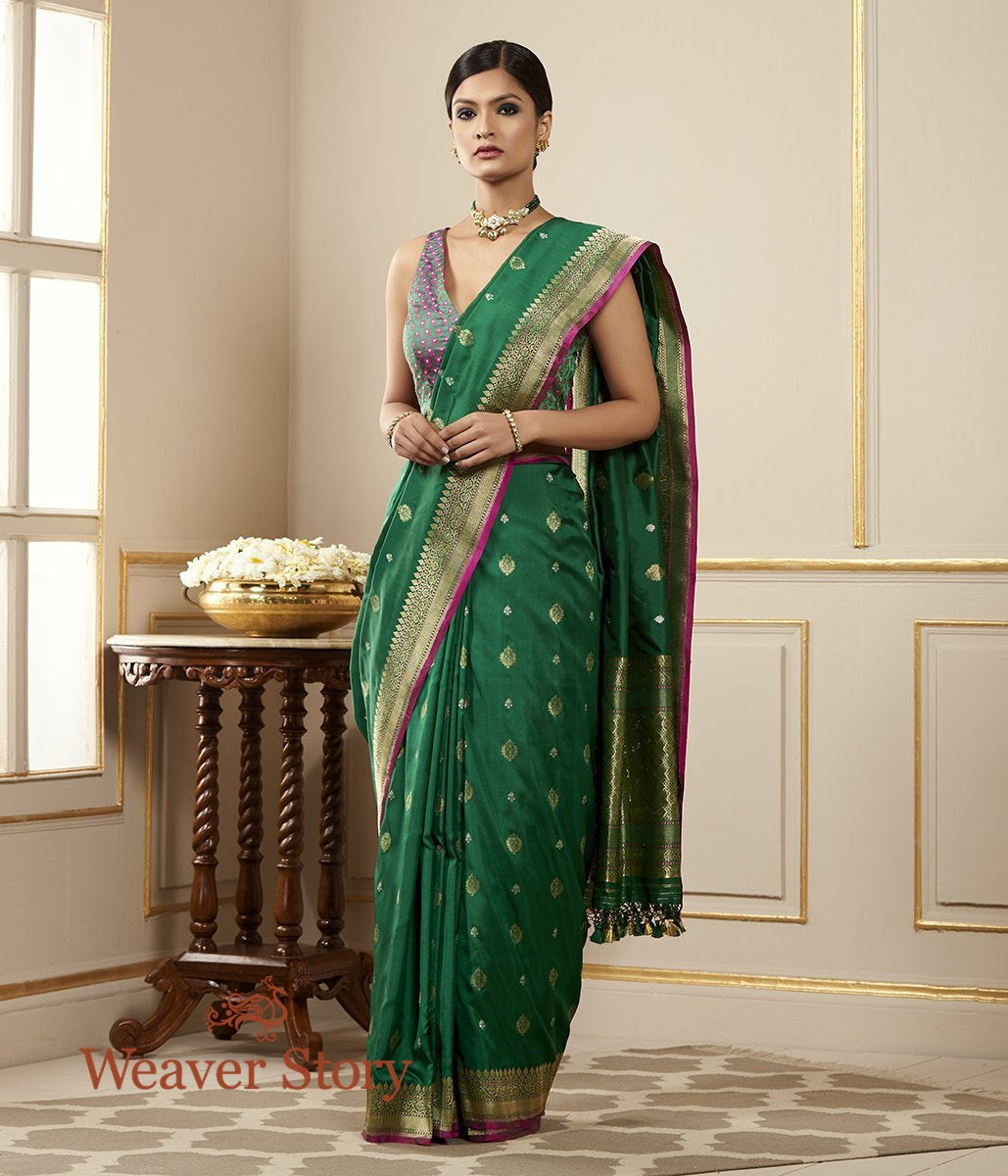 Handwoven EmeraLd Green Sona Rupa Saree