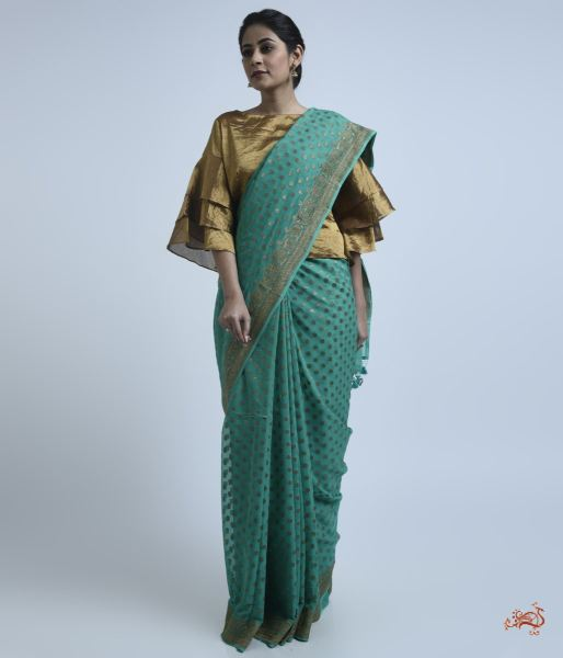 Teal Green Banarasi Georgette Saree Saree