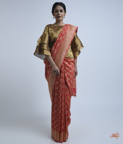 Coral Red Banarasi Georgette Saree Saree
