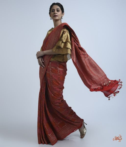 Bright Red Banarasi Saree With Bandhej Saree