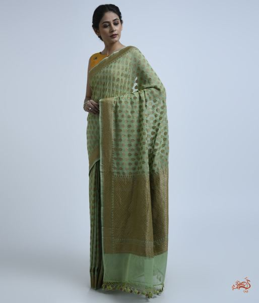 Green Antique Zari Booti Georgette Saree Saree