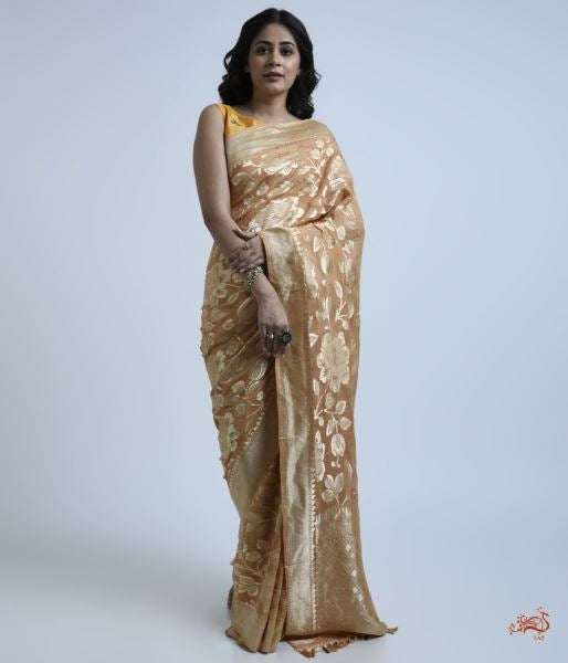 Peachish Brown Cutwork Banarasi Jangla Saree Saree