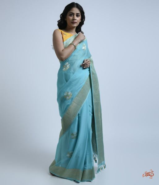 Light Blue Banarasi Georgette Saree With Sona Rupa Zari Floral Motifs Saree