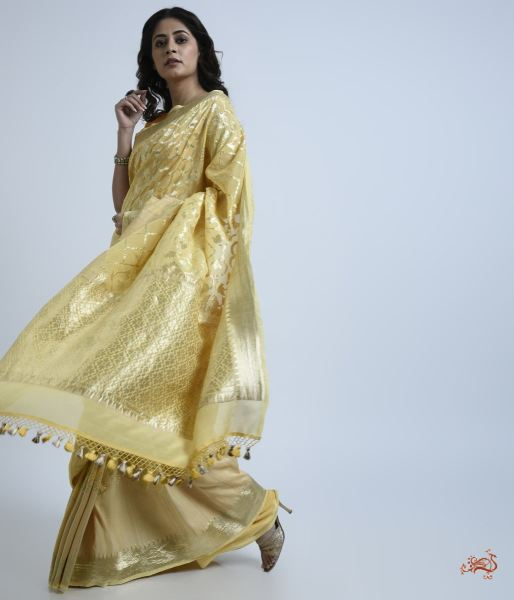 Pale Yellow Banarasi Georgette Saree Saree