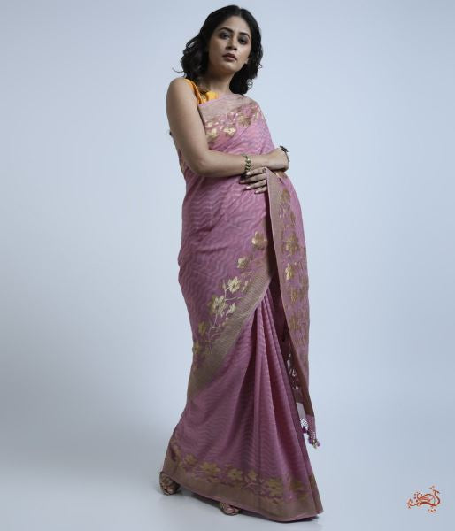 Mauve Banarasi Tanchoi Saree Woven In Fine Georgette. Saree