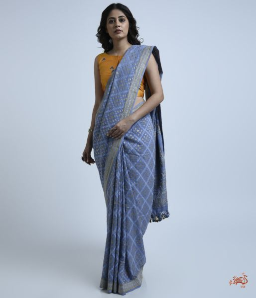 Blue Grey Banarasi Tanchoi Saree Woven In Georgette Saree