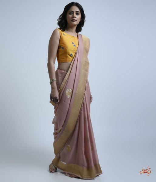 Light Pink Banarasi Georgette Saree With Sona Rupa Zari Floral Motifs Saree