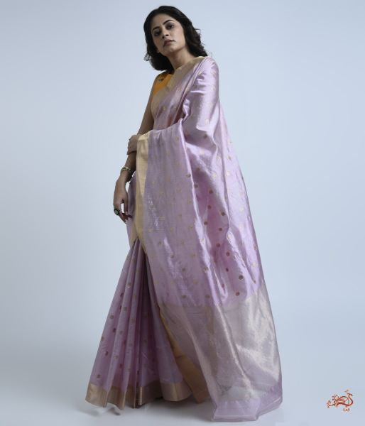 Mauve Pure Silk Chanderi Saree With Delicate Floral Motifs Meenakari Saree