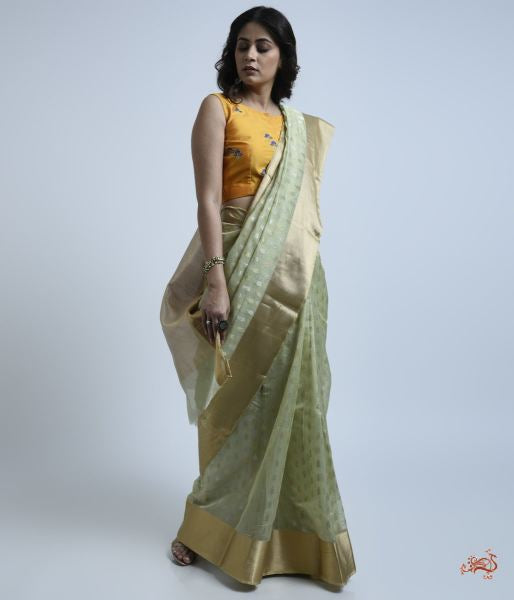 Pistachio Green Cotton Silk Saree With Gold And Silver Motifs Saree