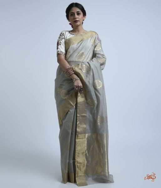 Light Grey Cotton Silk Saree With Floral Motifs Saree