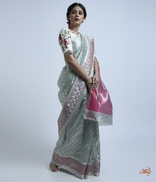 Sky Blue Silk Chanderi Saree With Pink Pallu And Blouse Saree