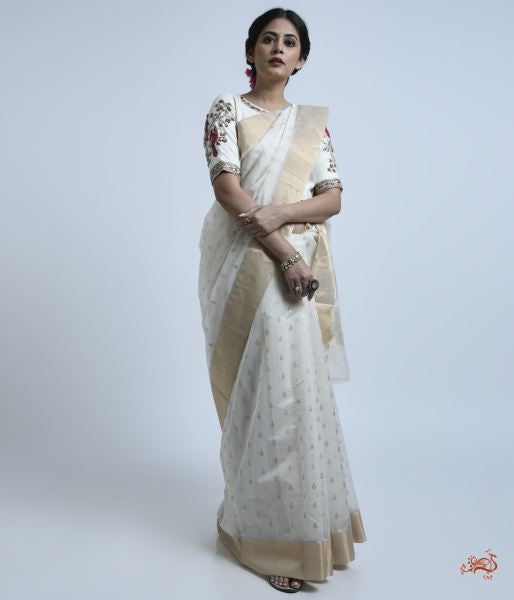 White Cotton Silk Saree With Heavy Pallu Saree