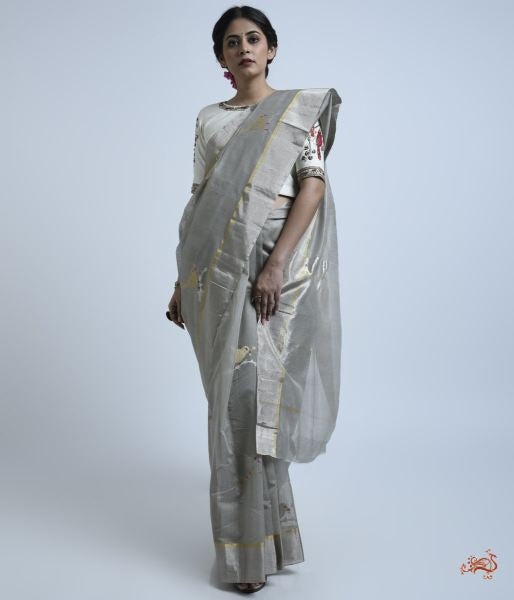 Grey Cotton Silk Saree With Bird Motifs Saree