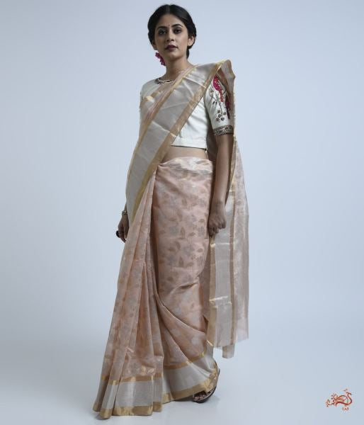 Peach Cotton Silk Saree With Gold And Silver Zari Jaal Saree
