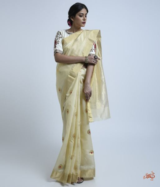 Cream And Gold Meenakari Boota Saree Saree