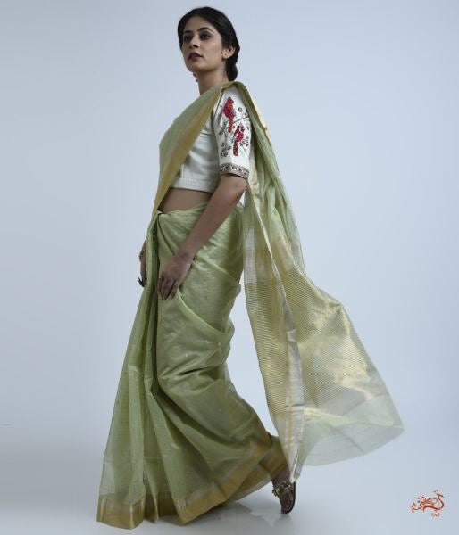 Pistachio Green Cotton Silk Saree With Self Weave Checks Saree