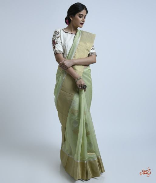 Pistachio Green Cotton Silk Saree With Floral Motif Saree