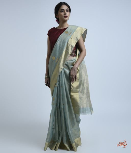 Aqua And Gold Silk Tissue Saree Saree