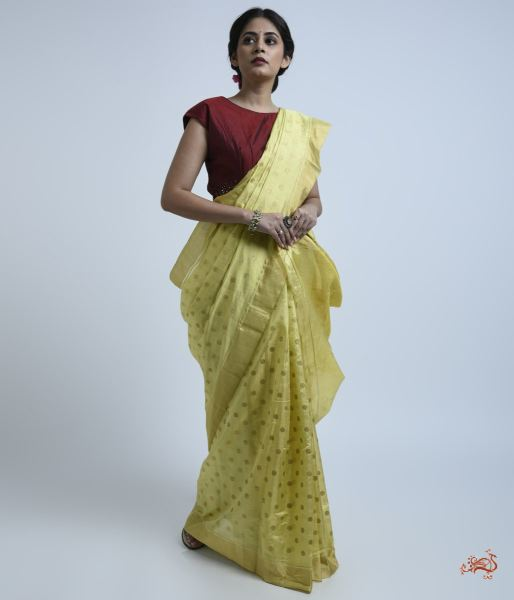 Yellow Asharfi Booti Silk Tissue Saree
