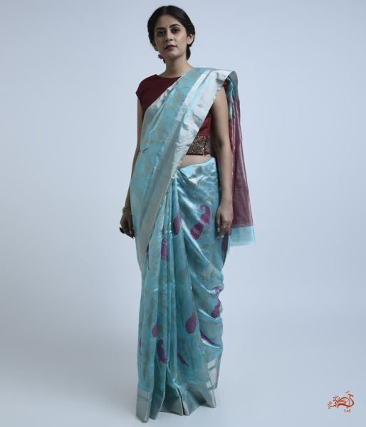 Light Blue Chanderi Silk Saree With Bird Motifs Saree