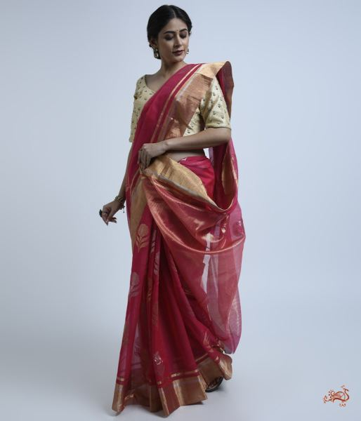 Berry Pink Cotton Silk Chanderi Saree Saree