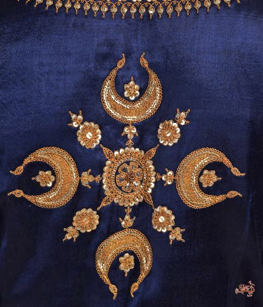 Dark Blue Gajji Silk Blouse With Marori Work Blouses/ Crop Tops
