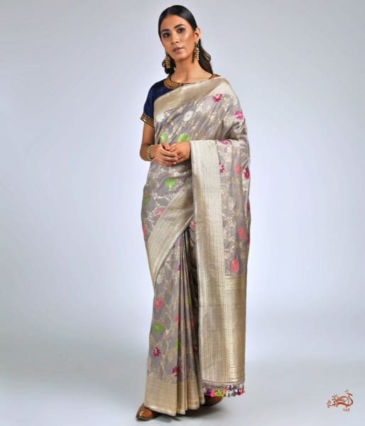 Light Grey Meenakari Kadhwa Jangla Saree Saree
