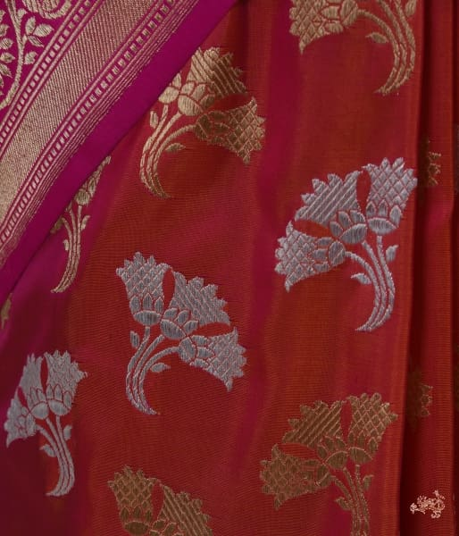 Pink Sona Rupa Petal Motif Saree With Meenakari Kadhiyal Border Saree