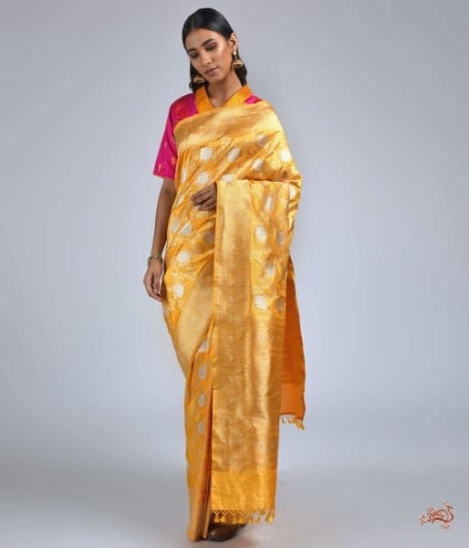 Yellow And Gold Kadhwa Banarasi Jangla Saree Saree