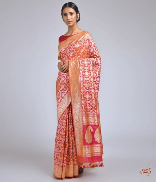 Pink Kadhwa Jangla Saree With Heavy Floral Border Saree