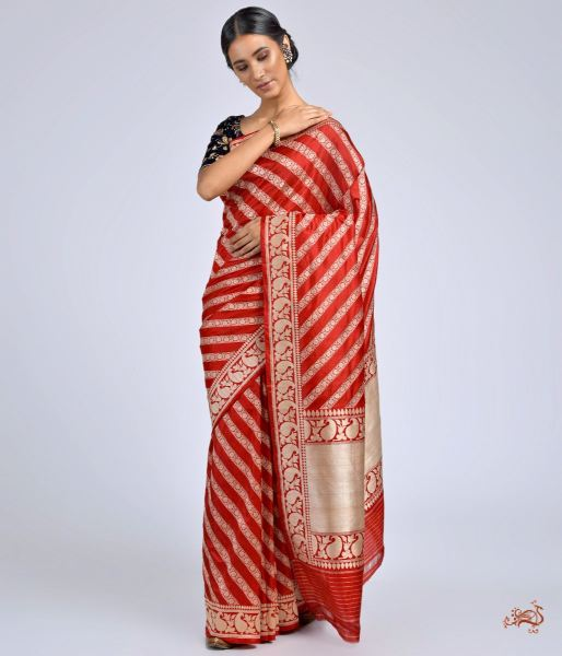 Red Banarasi Jangla Saree Saree