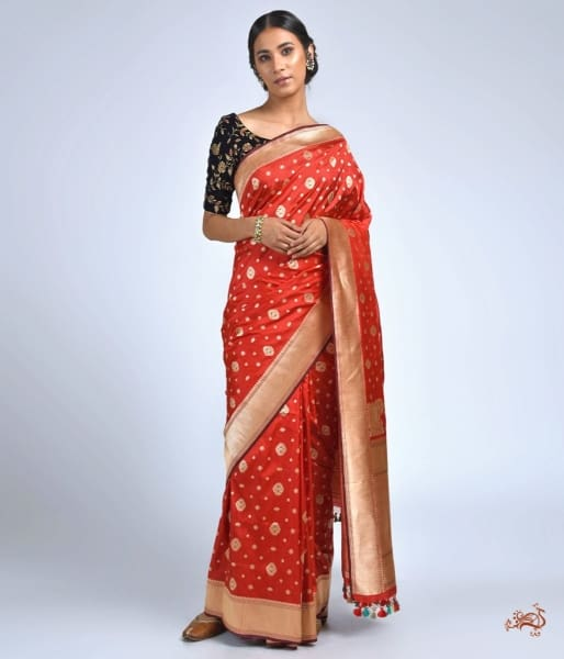 Red Meenakari Saree With Small Booti Saree