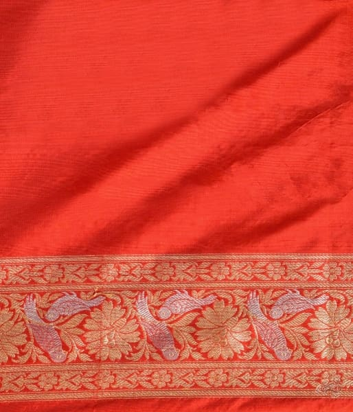 Red Katan Silk Jangla Saree With Birds Saree
