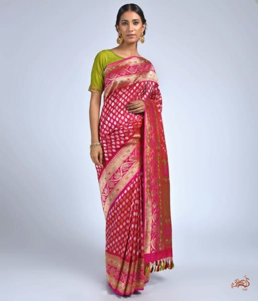 Hot Pink Heavy Kadhwa Saree With Meenakari Border Saree