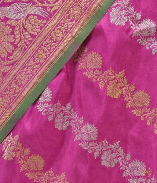 Pink Katan Silk Jangla Saree With Birds Saree