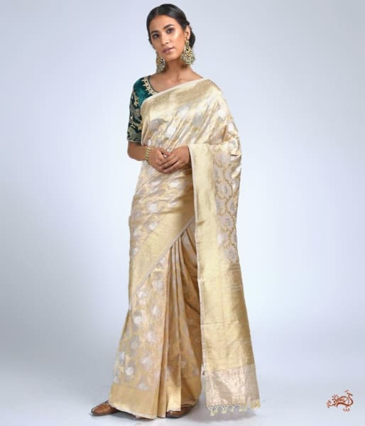 Offwhite And Gold Tissue Jangla Saree Saree