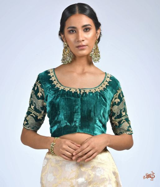 Green Velvet Blouse With Dabka Work Blouses/ Crop Tops