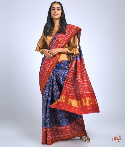 Pure Silk Gujarat Patola Saree In Blue And Red Combination Saree