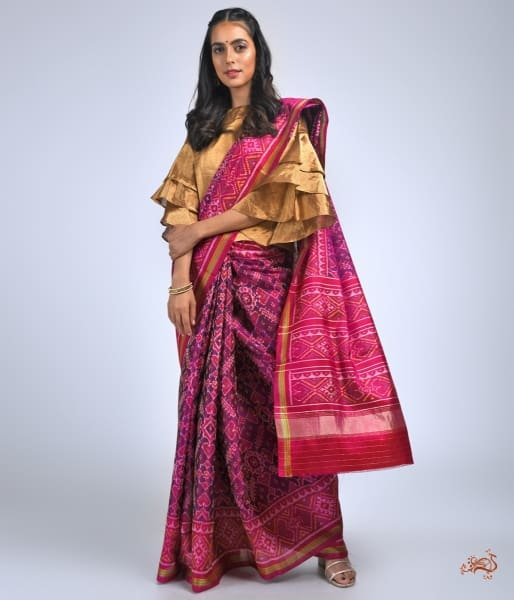 Pure Silk Gujarat Patola Saree In Purple And Pink Combination Saree